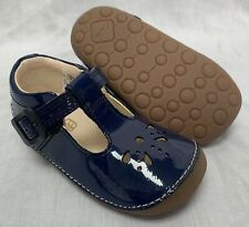 BNIB Clarks Girl Little Weave Navy Patent Leather Cruising First Shoes E/F/G/H
