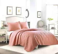 Nip Laura Ashley 3 Piece Solid Coral Quilt Set - Full/ Queen