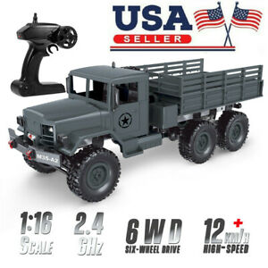 1/16 Military Truck 2.4G 6WD Off-road RC Car Electric Vehicle W/Light Adults RTR