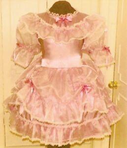 Charming Satin Organza Pink Sissy Lolita Adult Baby Aunt D