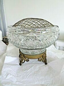 Vintage Heavy Cut Glass Crystal Rose Fruit Bowl Table Centrepiece Brass Stand