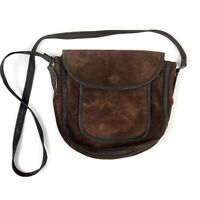 Carita Paris Brown Leather & Suede Crossbody Shoulder Bag Foldover Travel