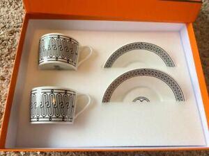 Hermes H Deco black Tea Cup and Saucer 2 set porcelain dinnerware coffee 160 ml