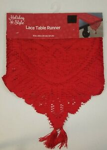 """HOLIDAY STYLE 13""""X48"""" Christmas/Valentine RED Lace Table Runner Dresser Scarf"""