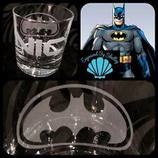 Personalised BATMAN Whiskey Tumbler Glass Birthday Gift Any Name Engraved Free