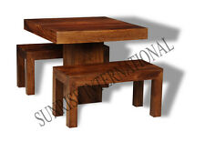 Dakota 3pc Wooden Dining Set ( 1 Table + 2 Benches )