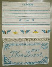 1932 VINTAGE DUTCH NEEDLWORK SAMPLER BEAUTIFUL BUTTERFLIES SIGNED J. VAN DORST