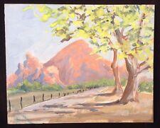 Vintage Landscape Painting Trees Mountain Fence Gouache Colorful