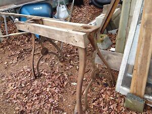 "Antique Cast Iron Desk Table Legs - 32"" tall, 24"" wide, 9 x 6 box area"