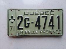 1971 Quebec License Plate - 2G 4741  - Embossed - Canada - Montreal - LA BELLE