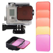 Neu 5pcs Unterwasser Filter Rot+Gelb+Violett+lens Adapter for Gopro Hero 4
