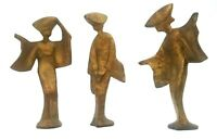 Mid Century Modern Guilded Cast Iron Sculptures Set of 3 Geisha Figures Japan 7""