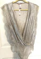 VS VICTORIA'S SECRET Sequin Bodysuit Teddy Romper Lingerie M Medium Silver NWT