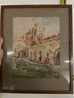 Aquarelle Ancienne Peinture French Painting XIXeme Dessin J.Julie Albi