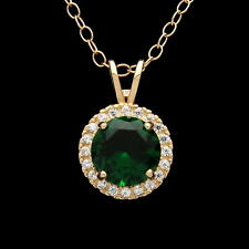 1CT Halo Emerald Green Created Diamond Pendant Solid 14k Yellow Gold Charm