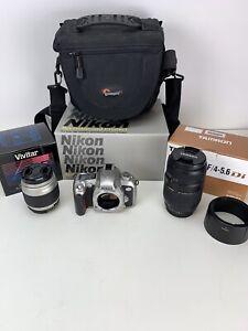 Used Nikon N75 35mm Camera Tamron AF70-300mm Macro Vivitar 28-80mm Lens with Bag