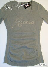 Guess Jeans Sweater T shirt  sweat  Top Blouse Pullover Logo tee  Grey NWT XS