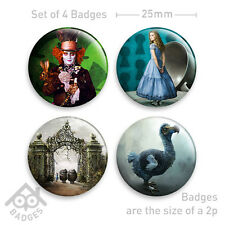 "Alice in Wonderland Tim Burton Mad Hatter DODO Movie - 1"" Badge x4 Badges"