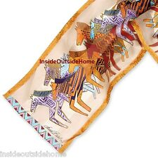 Laurel Burch Silk Neck SCARF Native Horses Wrap Ivory New