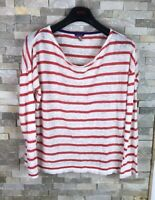 Joules Ladies Size 10 Striped 100% Linen Long Sleeve Top T Shirt