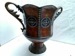 Indoor Decorated Pedestal Flower Pot Vase Stand Planter Riveted Handle Tin Metal