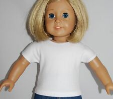 """WHITE RIBBED KNIT TEE SHIRT - Doll Clothes - fits 18"""" American Girl Dolls"""