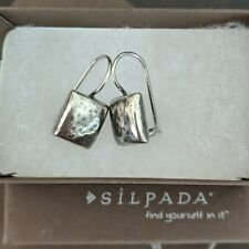 SILPADA Sterling Silver Hammered Puffy Square Earrings W1970 Uber HTF