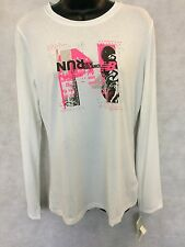Womens New Balance Ringer Crew Tee Shirt Top Size Small White #W570