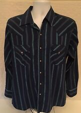 Vintage Ely Cattleman Blue Striped Western Shirt Pearl Snap Long Sleeve Large