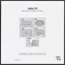 """Italia 1976 Foglietto """"Italia 76"""" nuovo, tiratura 30.000 pezzi, perfetto."""