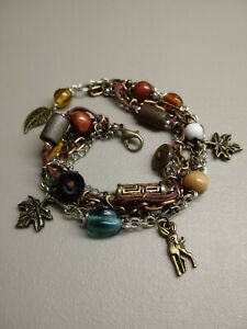 Repurposed Button + Beaded Deer and Leaf Charm Multi-Chain Adjustable Bracelet