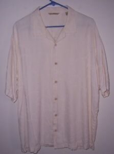 Vintage Men's Tommy Bahama Bamboo Embossed Casual Silk Button Front Shirt XL