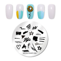 NICOLE DIARY Stamping Plates Stainless Steel Round Nail Art Design Tool 094