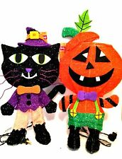 Spooky Village Halloween Pumpkin & Black Cat  Lighted Decorations 18 in Tall
