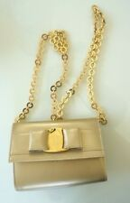 Ferragamo Vintage Gold Verra Purse/Bag with Gold Chain, box + dust bag included
