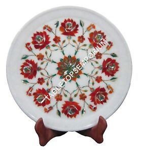 """12"""" White Marble Round Plate Carnelian Inlay Stone Giving Tuesday Decor H1440"""