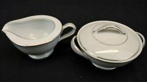 Noritake China Whitehall Creamer and Sugar Bowl w/ Lid White Floral Platinum Rim