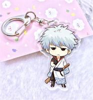Anime Gintama Sakata Gintoki Keychain Acrylic Key Ring Key chain Gift