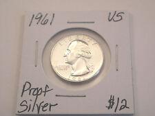 1961 Silver Proof Washington Quarter 25C Deep Mirror Proof