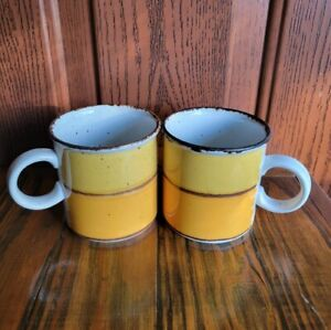 "Set Stonehenge Midwinter Sun Coffee Mug Large 3 1/2"" England Rare Vtg Stoneware"