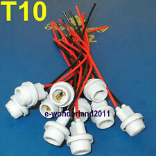 Waterproof  T10 Car LED SMD Light Wire Harness Socket Holder Connector (Set/10)