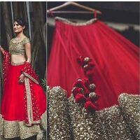 Latest designer bollywood indian wedding red readymade lehenga choli set lengha