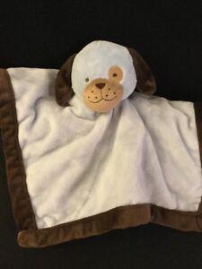 Tiddliwinks Puppy Dog Baby Security Blanket Lovey Light Blue Dark Brown Eye Spot