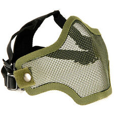 NEW AIRSOFT PAINTBALL TACTICAL METAL MESH HALF MASK GREEN