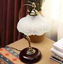 Wood Metal Glass Antique Elegant Table Lamp Bedroom Desk Light Home Study O