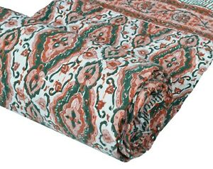 Indian Cotton Hand Block Print Bedspread Kantha Quilt Throw Coverlet Twin Size