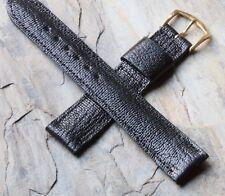 Pinpoint pattern Genuine Kangaroo 1950s/60s vintage watch strap 18mm gloss black
