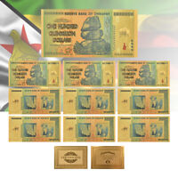 WR 10pcs Zimbabwe 100 Quintrillion Dollars Gold Banknote Collectible Money w COA