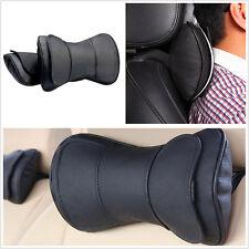 2 X Black Leather Double Layer Car Autos Seat Headrest Neck Rest Pillow Cushion