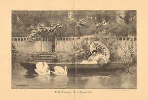 Birds, Swans, Rowboat, Parasol, Fashions, Vintage 1897 German Antique Art Print